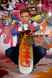 Boy skateboard, graffiti wall Stock Photos