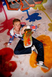 Boy skateboard, graffiti wall Stock Photos