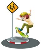 Boy and skateboard Stock Images