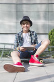 Boy with Skateboard Stock Images