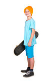 Boy with a skateboard Stock Images