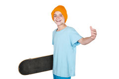 Boy with a skateboard Stock Photography