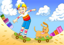 The boy in skateboarding Royalty Free Stock Images