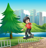 A boy skateboarding near the riverbank Stock Images