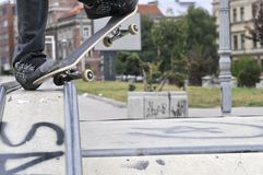 Boy skateboarding in a skate park Royalty Free Stock Photo