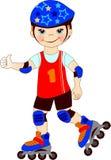 The boy skates on roller-skaters Stock Photos