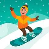 Boy skates on a snowboard slope. Winter extreme sport Stock Photography
