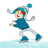 Boy skating on ice. Vector cartoon characters for greeting card, children book and winter design Stock Photos