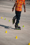 Boy skating on the rollerblades Royalty Free Stock Image
