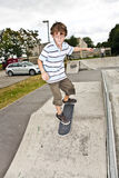Boy skating with speed Stock Photos
