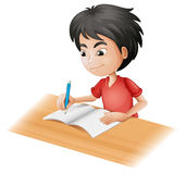 A boy sketching. Illustration of a boy sketching on a white background stock illustration