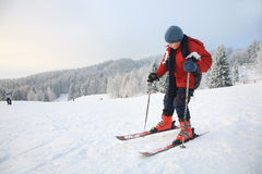 Boy and ski Royalty Free Stock Photos