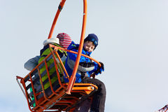 Boy on ski elevator Royalty Free Stock Images