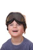 Boy with ski goggles. Portrait of a young boy wearing ski goggles isolated on white background Royalty Free Stock Photos