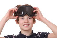 Boy with ski goggles Stock Photos