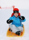 Boy in ski goggles. In winter Royalty Free Stock Photography