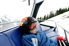 Boy on ski vacation. (mountain sun landscape Royalty Free Stock Image