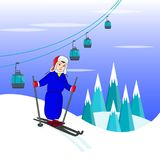 Boy skier in hat in blue sports suit, winter illustration in mou. Ntains Royalty Free Stock Image