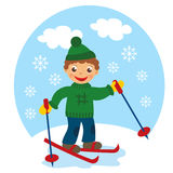 Boy skies. On the snow in winter stock illustration