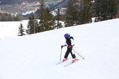Boy is skiing Royalty Free Stock Photo