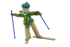Boy skiing in burlap crafts Royalty Free Stock Images