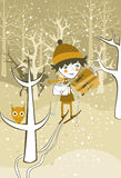 Boy skiing in the forest in vector Stock Images