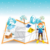 Boy Skiing On Map With Winter Landscape Stock Photography