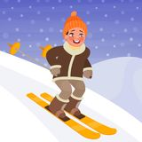 Boy is skiing from the mountain. Winter sports and outdoor activities. Vector illustration. In cartoon style Royalty Free Stock Image