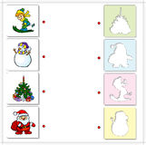 Boy skiing, snowman, Christmas fir and Santa Claus. Educational. Game for kids. Choose the correct silhouettes on the opposite side and connect the points royalty free illustration