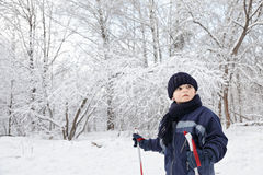 Boy skiing in winter forest stock photo