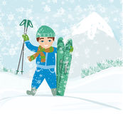 Boy with skis. Vector Illustration Stock Photos