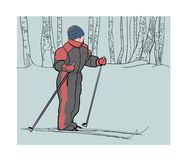 Boy on skis in the winter woods. Stock Photos