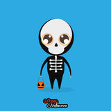 Boy With Skull Halloween Costume Isolated Royalty Free Stock Photo