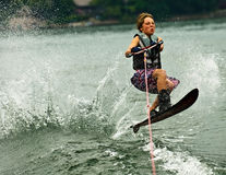 Boy Slalom Skier Jumping Wake Stock Photo