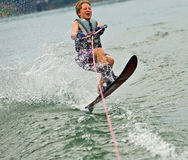Boy Slalom Skier Jumping Wake Royalty Free Stock Images
