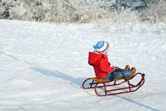 Boy with sled Royalty Free Stock Photography