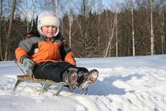 Boy on sled. In a forest Royalty Free Stock Photos
