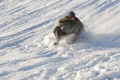 Boy on sled Stock Photo