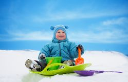 Boy on sled Royalty Free Stock Photography