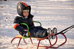 Boy  Sledding Royalty Free Stock Photo