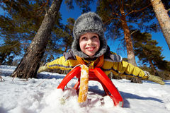 Boy on sledge Royalty Free Stock Photo