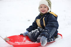 Boy in sledge Stock Images