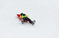 Boy on Sledge Royalty Free Stock Photos