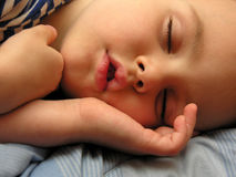 Boy sleep. Clouseup Stock Photos