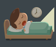 Boy sleep in the bed. Bedtime. Royalty Free Stock Image