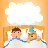 Boy sleep in bed with teddy bear. Early morning Stock Photo