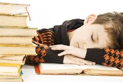 Boy sleep on the table Royalty Free Stock Image