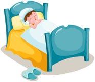 Boy sleeping. Illustration of isolated boy sleeping in bed Royalty Free Stock Photo
