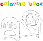 Boy sleeping on the bed with a pillow and blanket. Vector illustration. Coloring book Royalty Free Stock Image