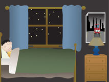 Boy sleeping in bedroom at night near large window Royalty Free Stock Images